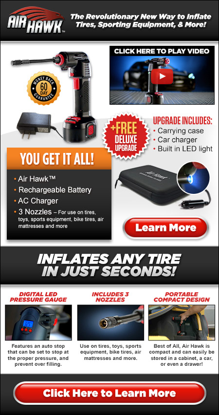 Air Hawk? ? The Revolutionary New Way to Inflate Tires, Sporting Equipment, & More!